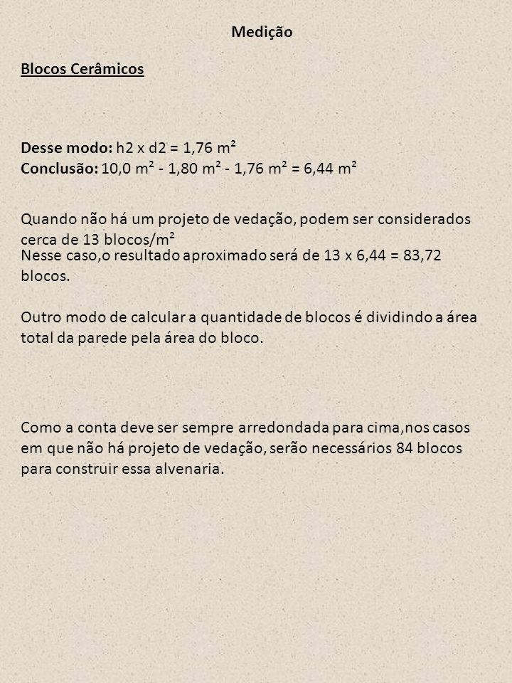 Medição Blocos Cerâmicos. Desse modo: h2 x d2 = 1,76 m² Conclusão: 10,0 m² - 1,80 m² - 1,76 m² = 6,44 m².