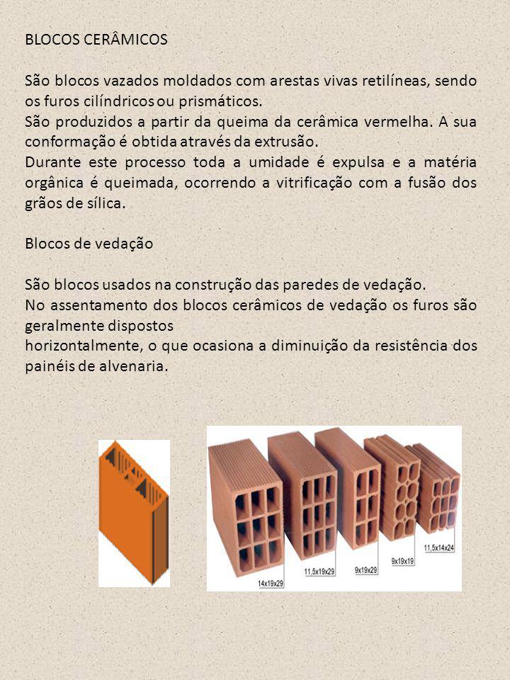 BLOCOS CERÂMICOS São blocos vazados moldados com arestas vivas retilíneas, sendo os furos cilíndricos ou prismáticos.