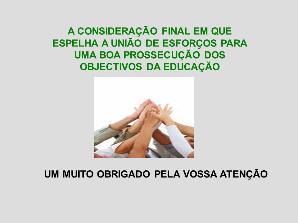 A CONSIDERAÇÃO FINAL EM QUE ESPELHA A UNIÃO DE ESFORÇOS PARA UMA BOA PROSSECUÇÃO DOS OBJECTIVOS DA EDUCAÇÃO