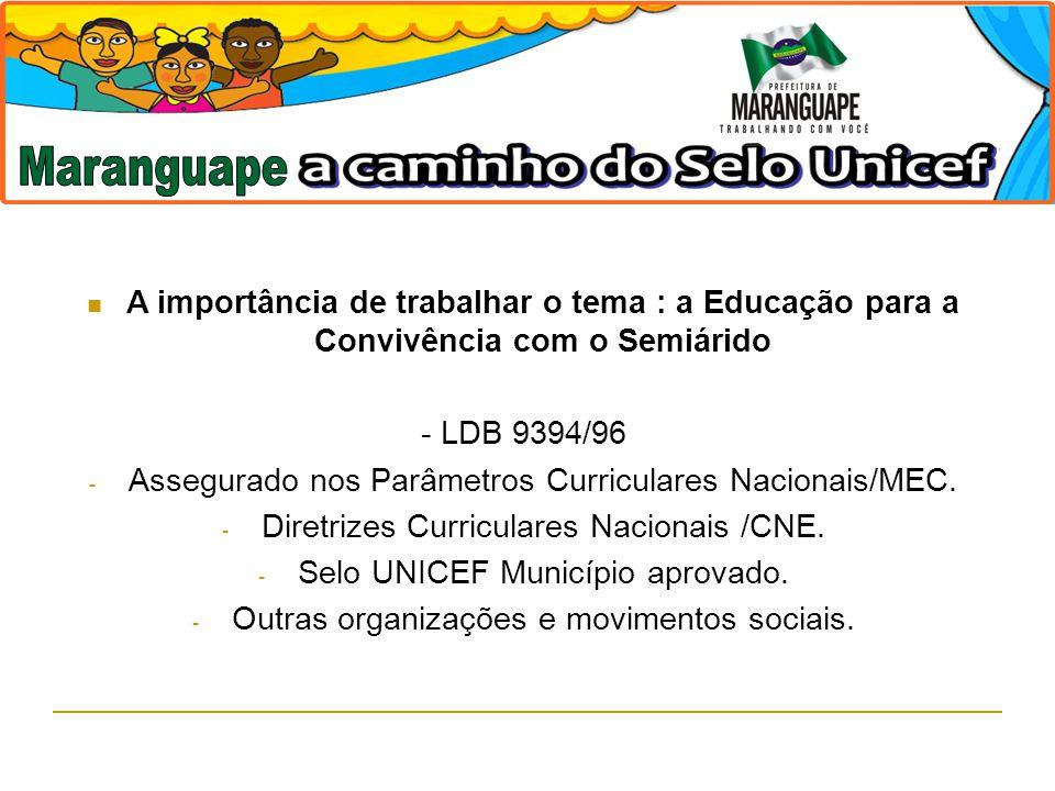 Maranguape A importância de trabalhar o tema : a Educação para a Convivência com o Semiárido. - LDB 9394/96.