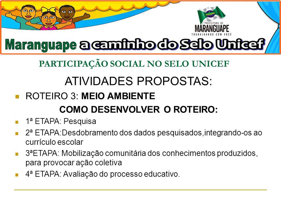 PARTICIPAÇÃO SOCIAL NO SELO UNICEF COMO DESENVOLVER O ROTEIRO: