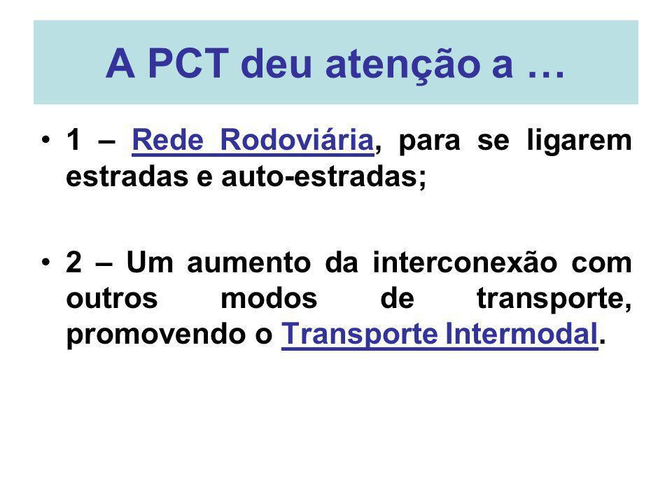 A PCT deu atenção a … 1 – Rede Rodoviária, para se ligarem estradas e auto-estradas;