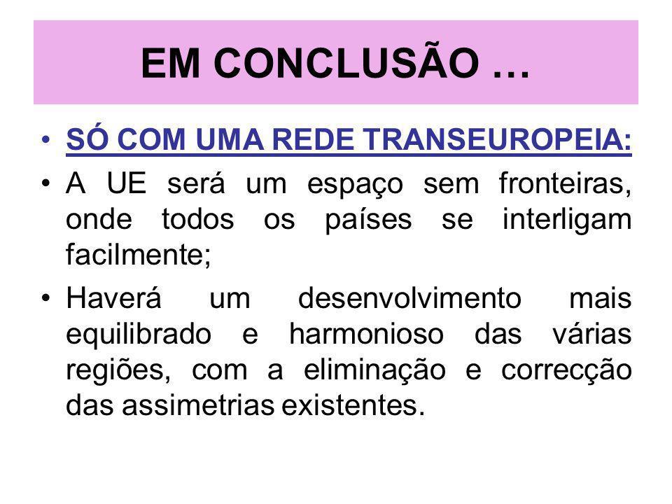 EM CONCLUSÃO … SÓ COM UMA REDE TRANSEUROPEIA: