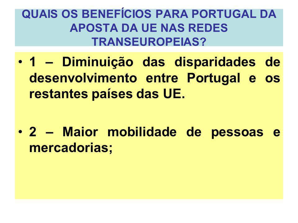 2 – Maior mobilidade de pessoas e mercadorias;