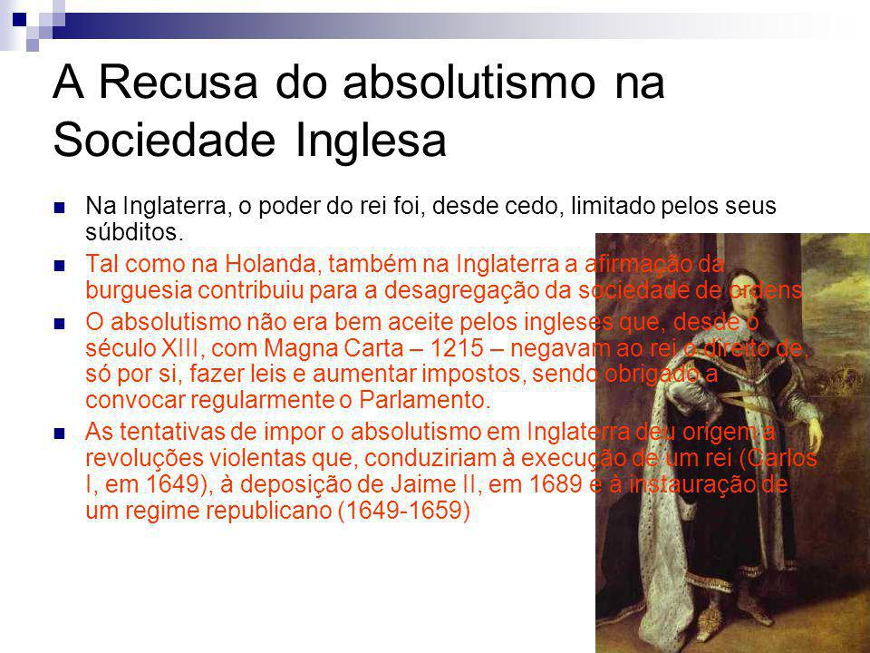 A Recusa do absolutismo na Sociedade Inglesa