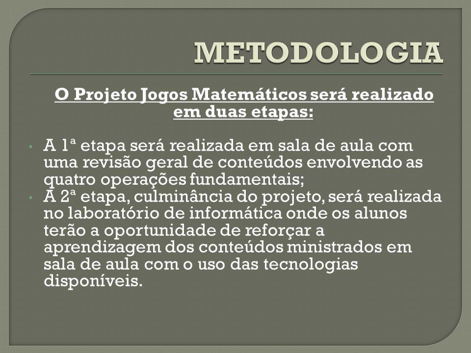 O Projeto Jogos Matemáticos será realizado em duas etapas: