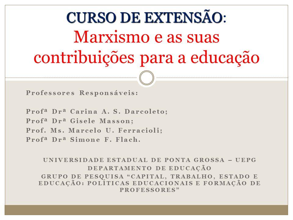 CURSO DE EXTENSÃO: Marxismo e as suas contribuições para a educação