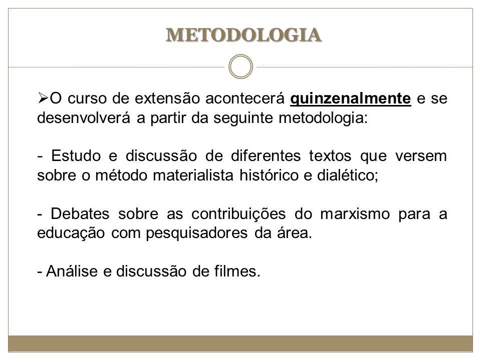 METODOLOGIA O curso de extensão acontecerá quinzenalmente e se desenvolverá a partir da seguinte metodologia: