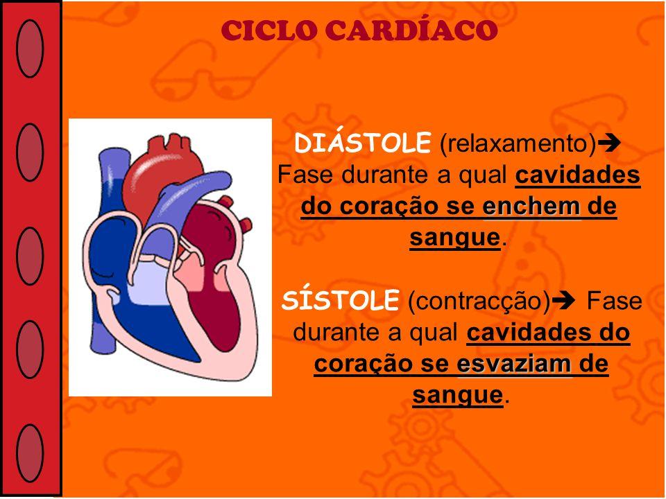 CICLO CARDÍACO DIÁSTOLE (relaxamento) Fase durante a qual cavidades do coração se enchem de sangue.
