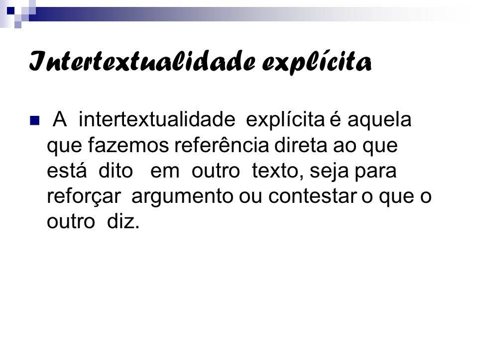 Intertextualidade explícita