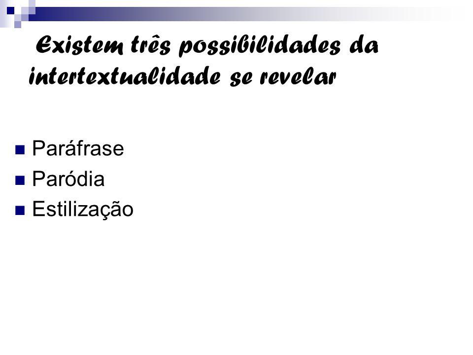 Existem três possibilidades da intertextualidade se revelar