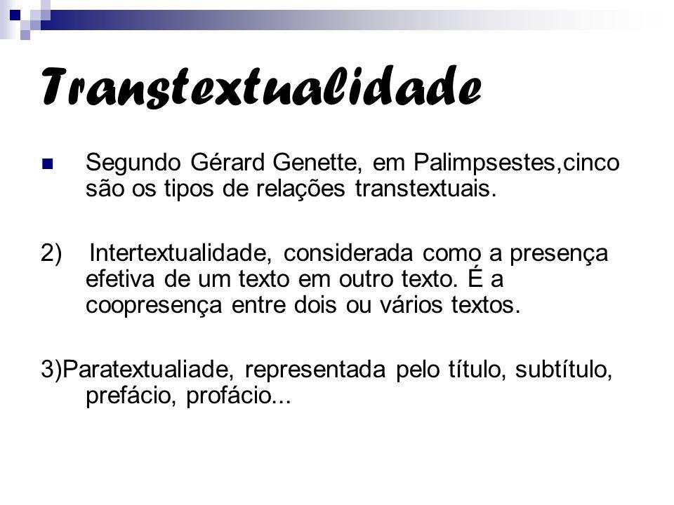 Transtextualidade Segundo Gérard Genette, em Palimpsestes,cinco são os tipos de relações transtextuais.
