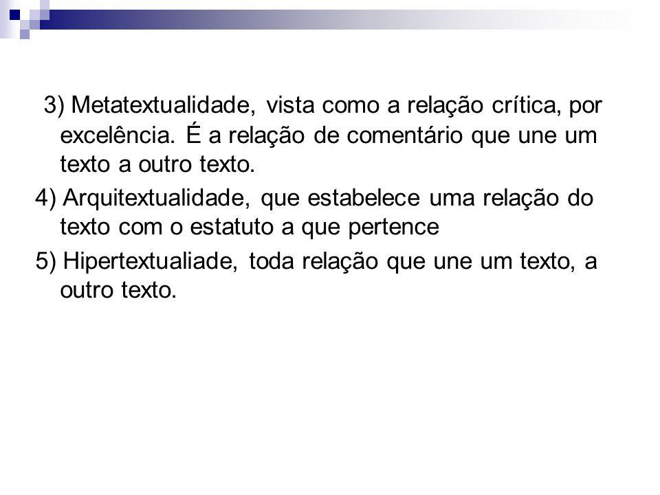 3) Metatextualidade, vista como a relação crítica, por excelência