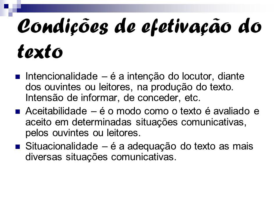 Condições de efetivação do texto
