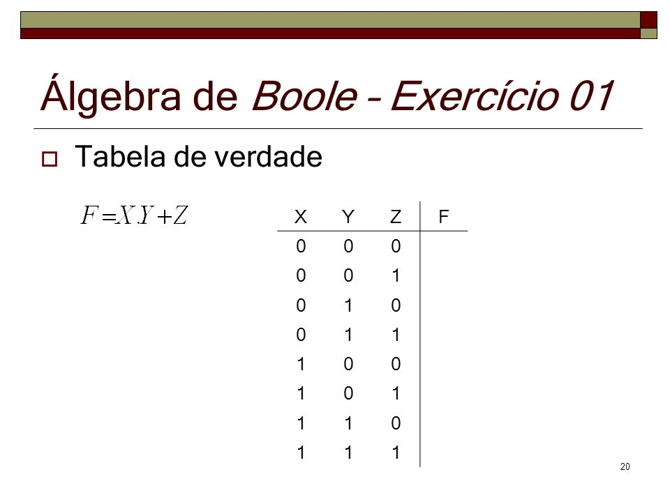 Álgebra de Boole – Exercício 01