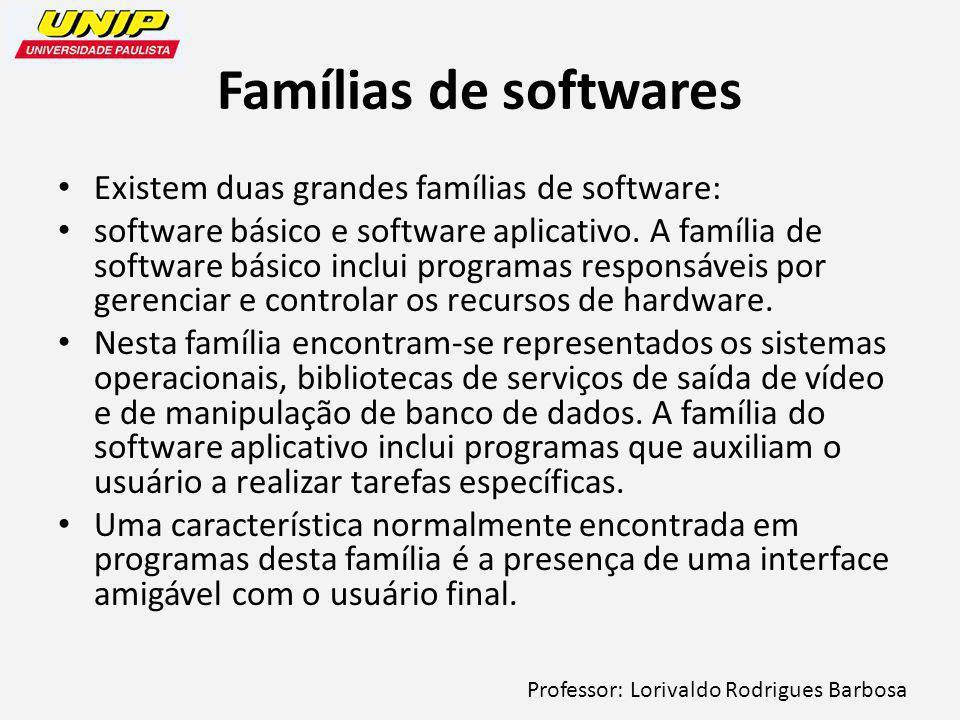 Famílias de softwares Existem duas grandes famílias de software: