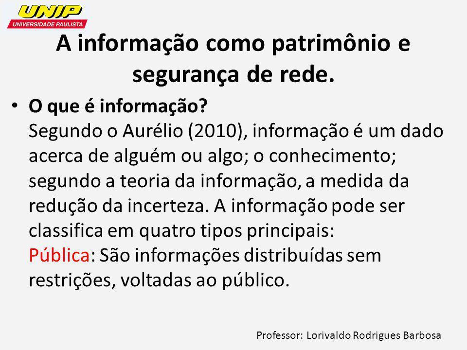 A informação como patrimônio e segurança de rede.