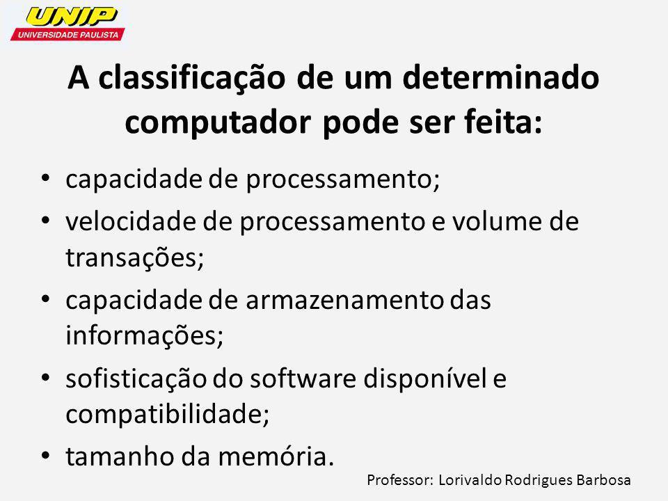 A classificação de um determinado computador pode ser feita: