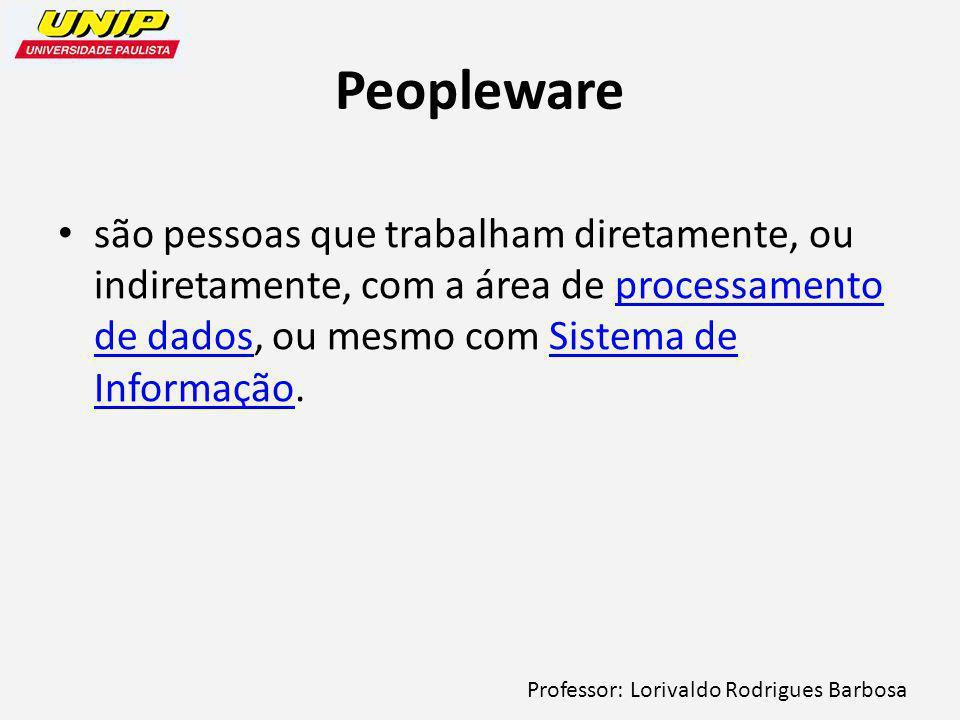 Peopleware são pessoas que trabalham diretamente, ou indiretamente, com a área de processamento de dados, ou mesmo com Sistema de Informação.