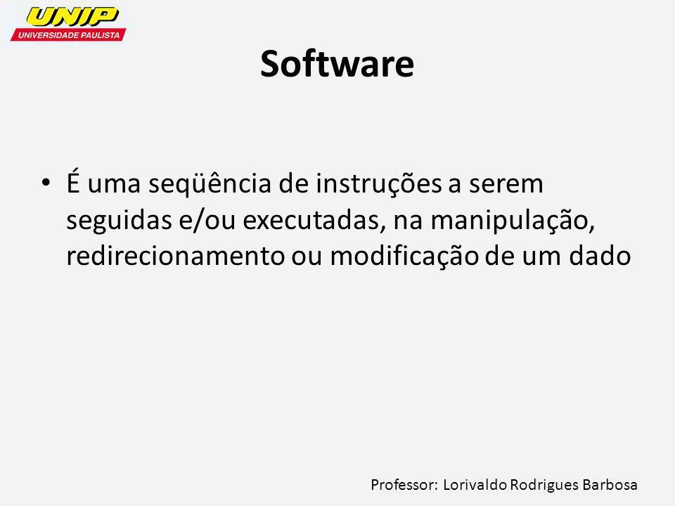 Software É uma seqüência de instruções a serem seguidas e/ou executadas, na manipulação, redirecionamento ou modificação de um dado.