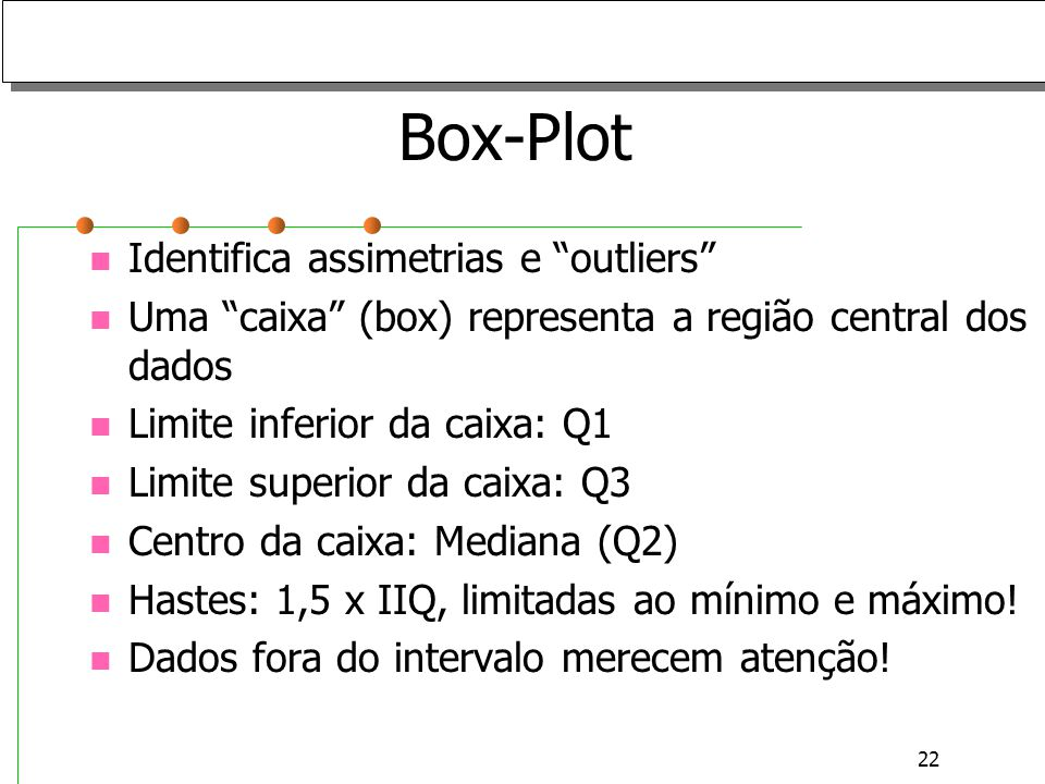 Box-Plot Identifica assimetrias e outliers
