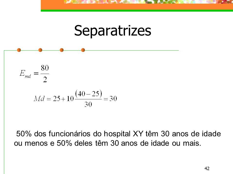 Separatrizes 50% dos funcionários do hospital XY têm 30 anos de idade ou menos e 50% deles têm 30 anos de idade ou mais.