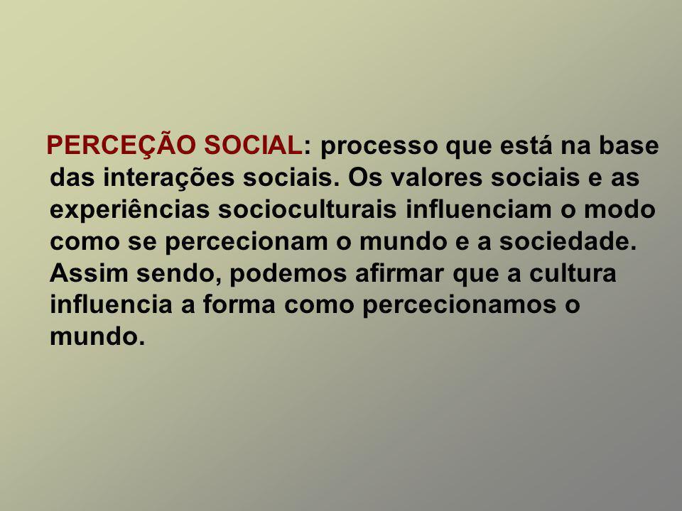 PERCEÇÃO SOCIAL: processo que está na base das interações sociais