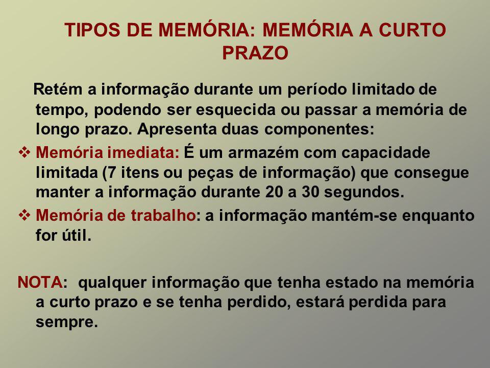 TIPOS DE MEMÓRIA: MEMÓRIA A CURTO PRAZO