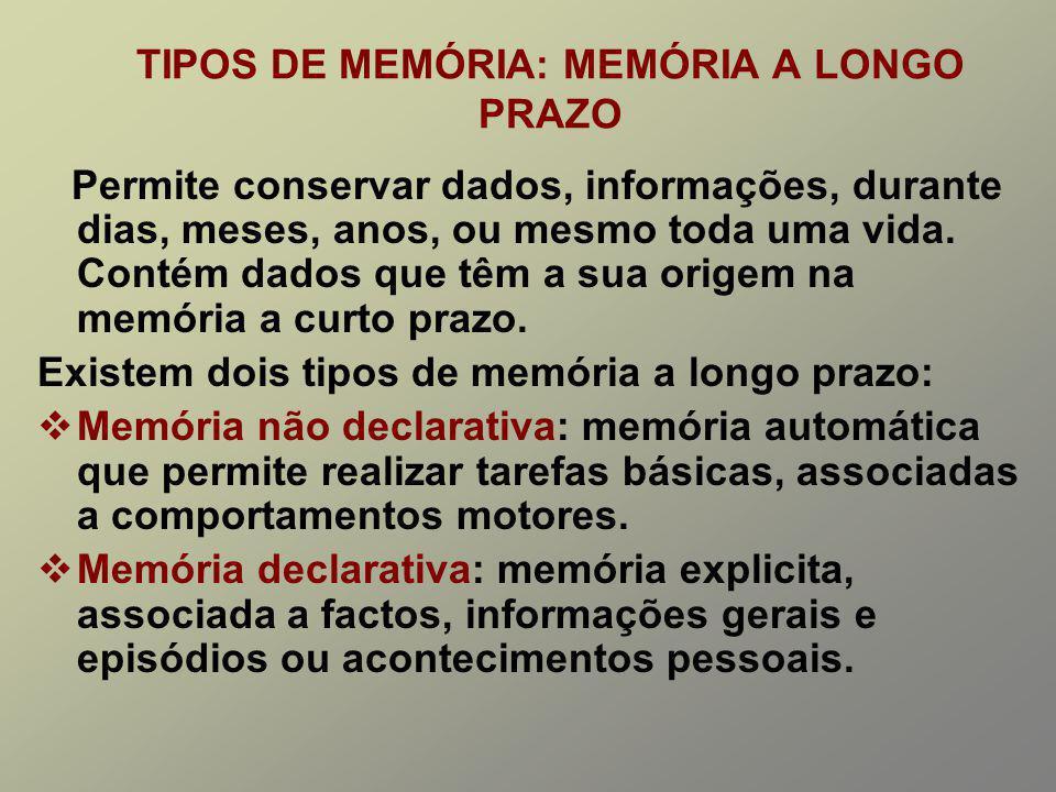 TIPOS DE MEMÓRIA: MEMÓRIA A LONGO PRAZO