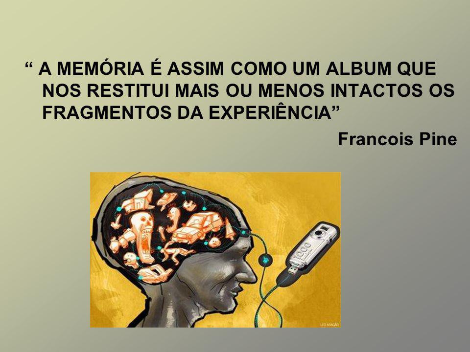 A MEMÓRIA É ASSIM COMO UM ALBUM QUE NOS RESTITUI MAIS OU MENOS INTACTOS OS FRAGMENTOS DA EXPERIÊNCIA