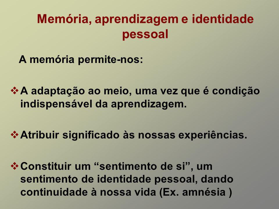 Memória, aprendizagem e identidade pessoal
