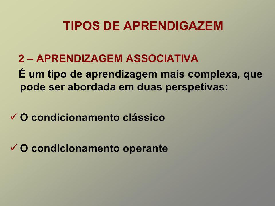 TIPOS DE APRENDIGAZEM 2 – APRENDIZAGEM ASSOCIATIVA
