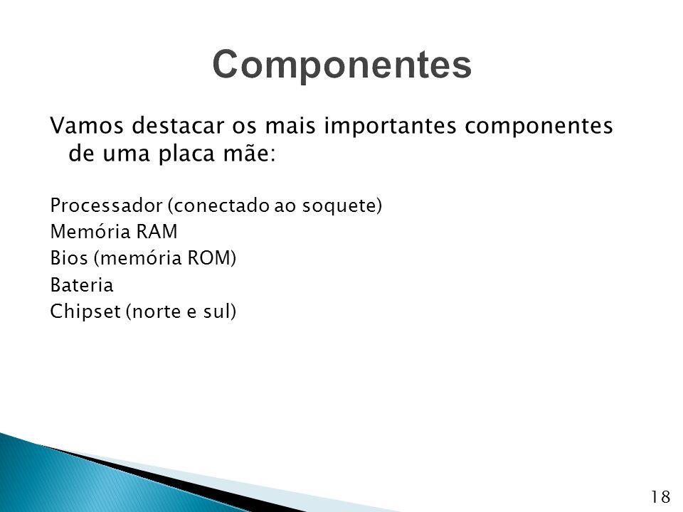 Componentes Vamos destacar os mais importantes componentes de uma placa mãe: Processador (conectado ao soquete)