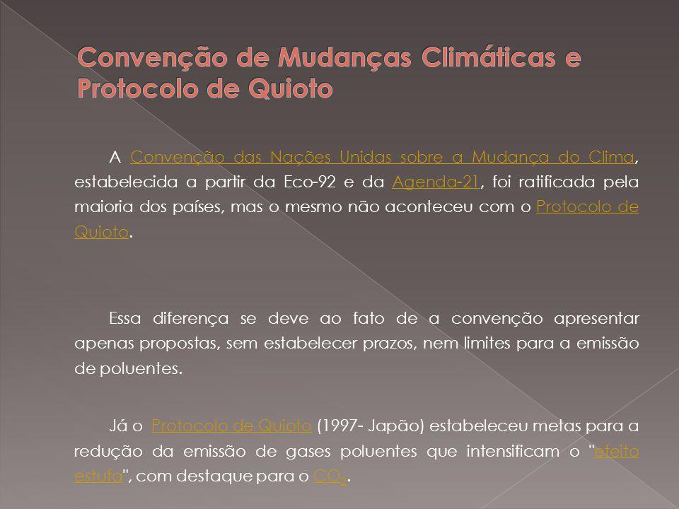 Convenção de Mudanças Climáticas e Protocolo de Quioto