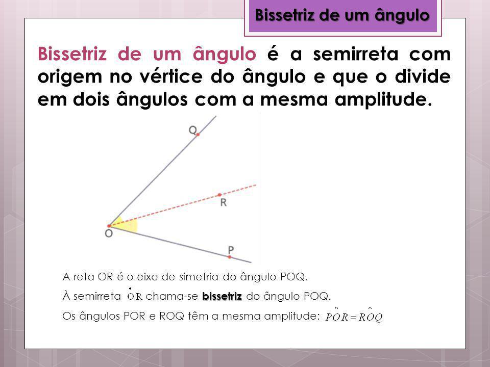 Bissetriz de um ângulo Bissetriz de um ângulo é a semirreta com origem no vértice do ângulo e que o divide em dois ângulos com a mesma amplitude.