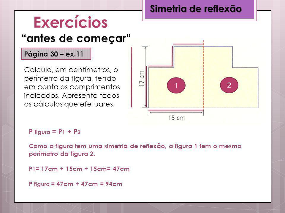 Exercícios antes de começar Simetria de reflexão Página 30 – ex.11