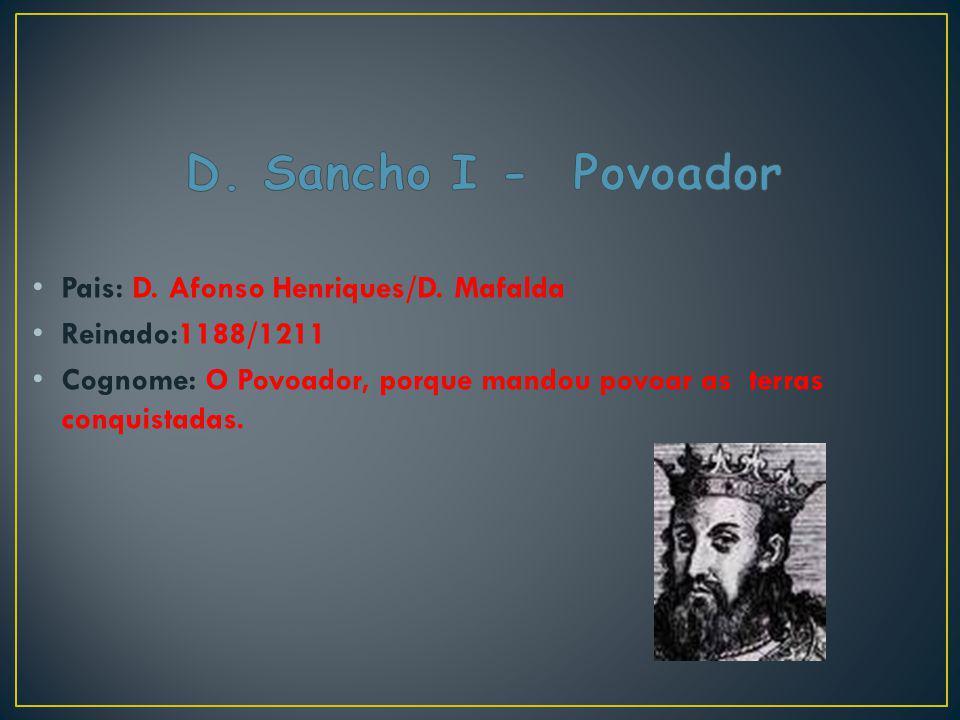 D. Sancho I - Povoador Pais: D. Afonso Henriques/D. Mafalda