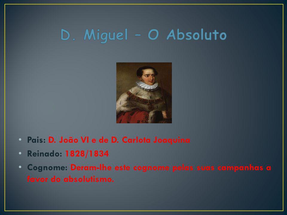 D. Miguel – O Absoluto Pais: D. João VI e de D. Carlota Joaquina