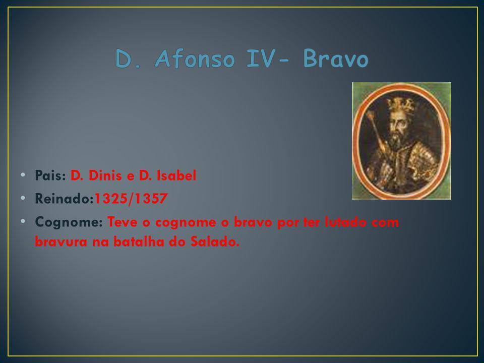 D. Afonso IV- Bravo Pais: D. Dinis e D. Isabel Reinado:1325/1357