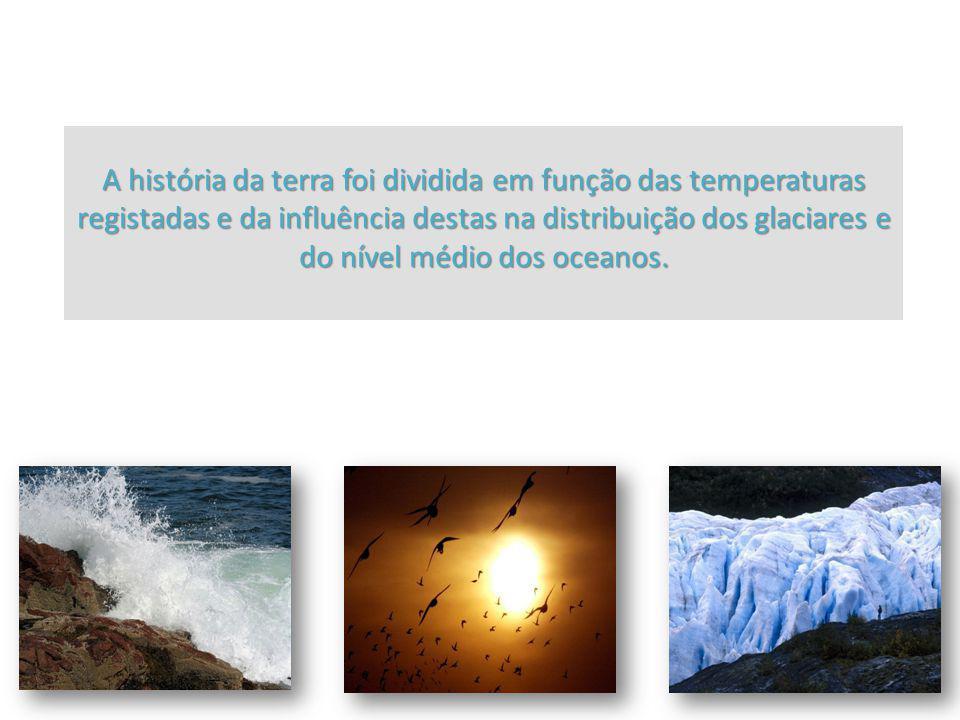 A história da terra foi dividida em função das temperaturas registadas e da influência destas na distribuição dos glaciares e do nível médio dos oceanos.