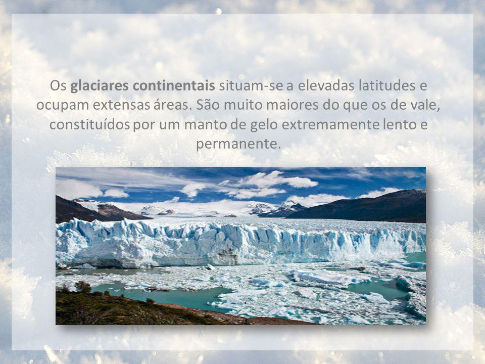 Os glaciares continentais situam-se a elevadas latitudes e ocupam extensas áreas.