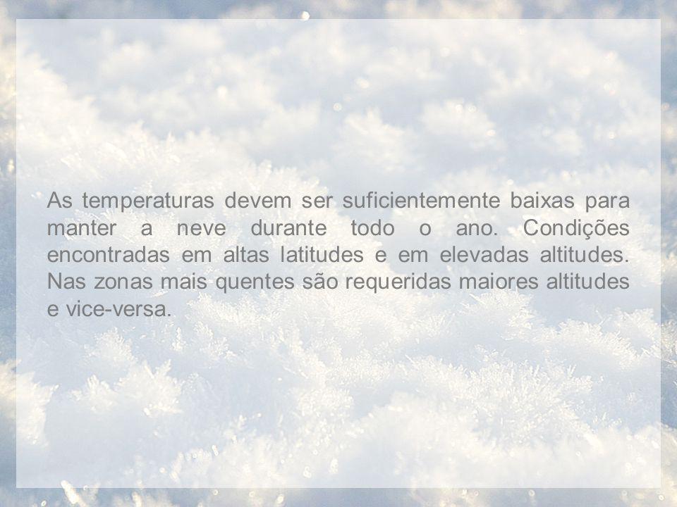 As temperaturas devem ser suficientemente baixas para manter a neve durante todo o ano.