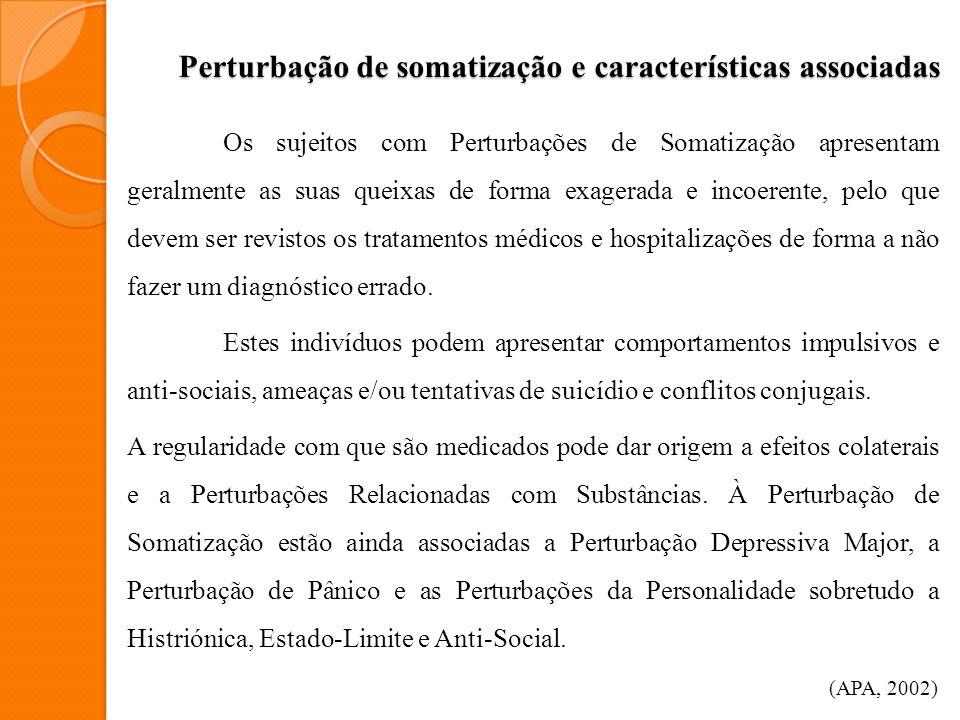 Perturbação de somatização e características associadas