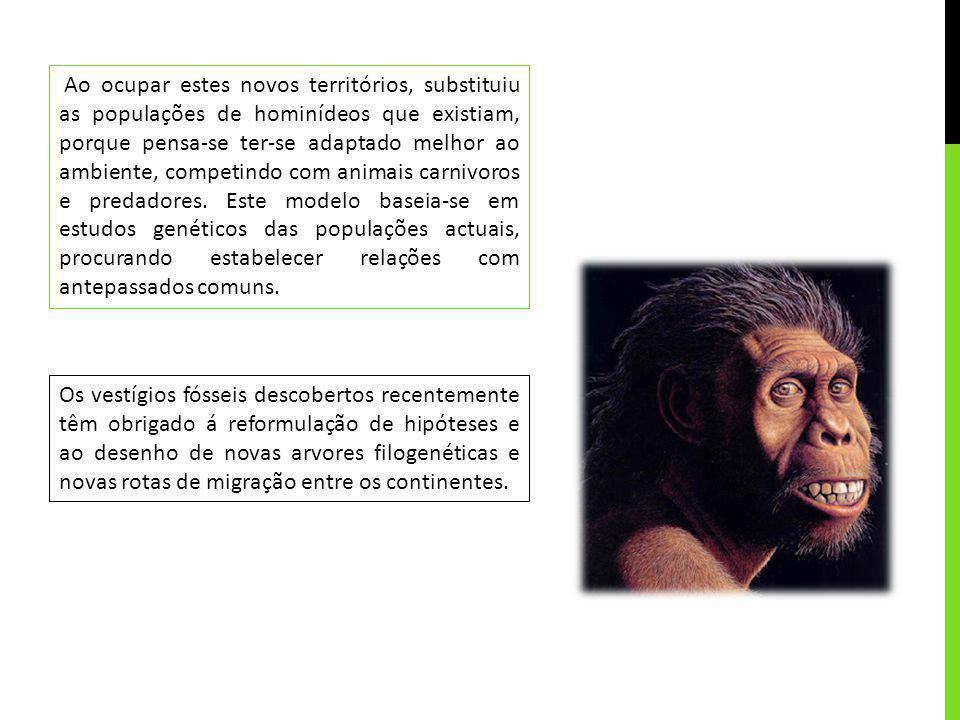 Ao ocupar estes novos territórios, substituiu as populações de hominídeos que existiam, porque pensa-se ter-se adaptado melhor ao ambiente, competindo com animais carnivoros e predadores. Este modelo baseia-se em estudos genéticos das populações actuais, procurando estabelecer relações com antepassados comuns.