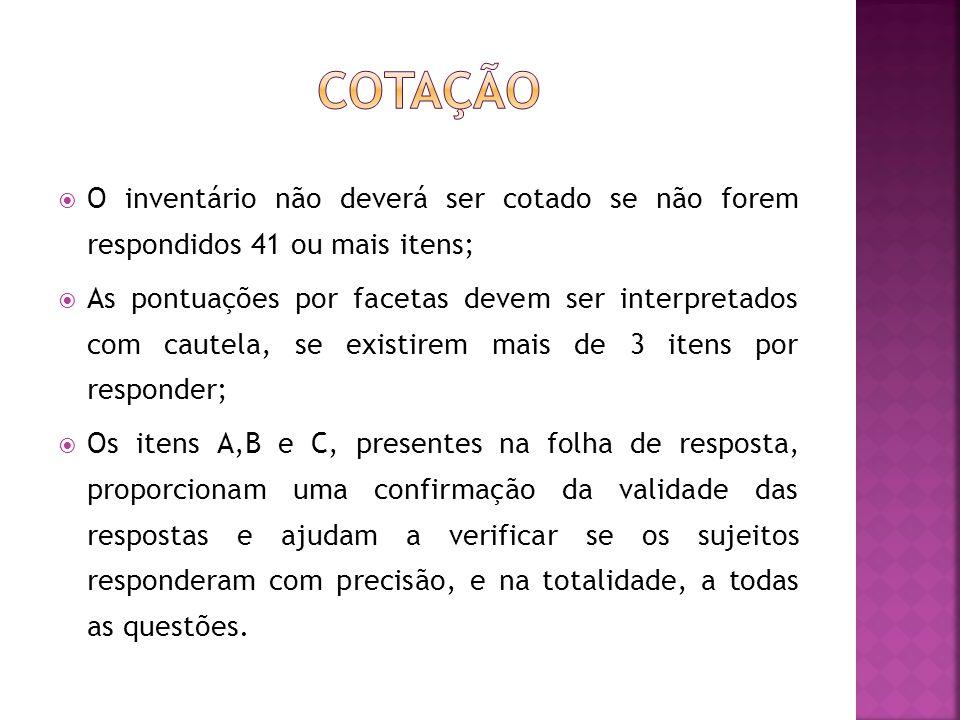 Cotação O inventário não deverá ser cotado se não forem respondidos 41 ou mais itens;