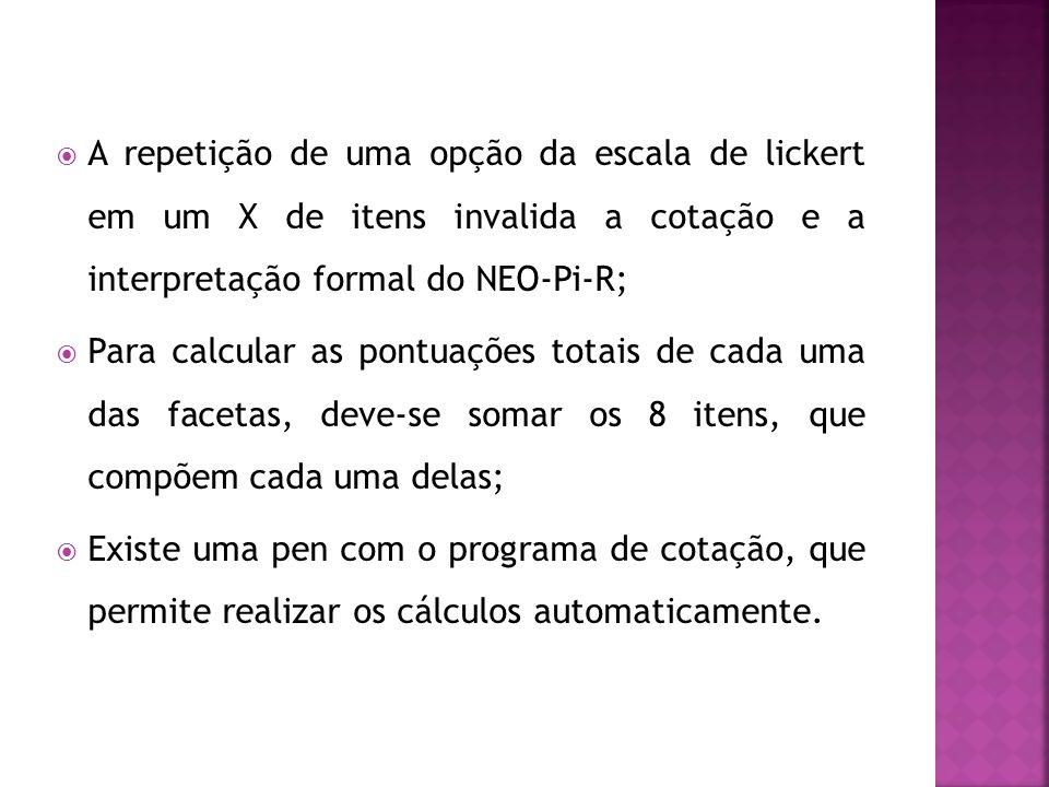 A repetição de uma opção da escala de lickert em um X de itens invalida a cotação e a interpretação formal do NEO-Pi-R;