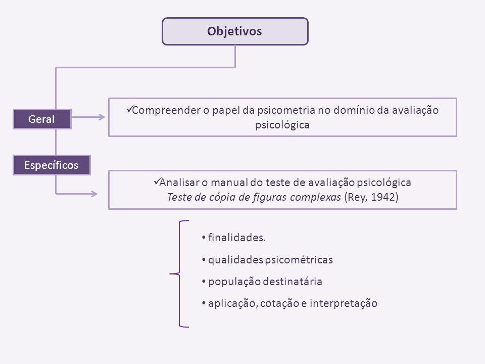 Objetivos Compreender o papel da psicometria no domínio da avaliação psicológica. Geral. Específicos.