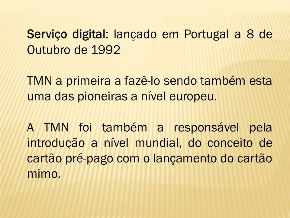 Serviço digital: lançado em Portugal a 8 de Outubro de 1992