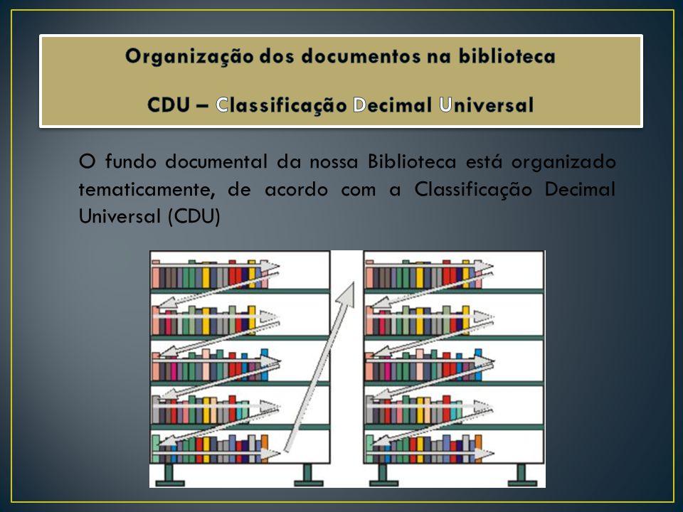 Organização dos documentos na biblioteca CDU – Classificação Decimal Universal