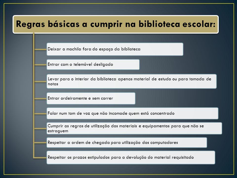 Regras básicas a cumprir na biblioteca escolar: